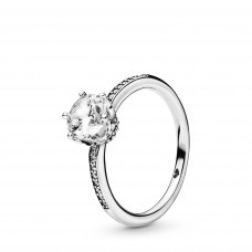 Pandora ring solitair Crown zilver zirkoon - 307528